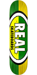 Real 50/50 Oval Skateboard Deck - Green/Yellow - 8.5in x 32.5in