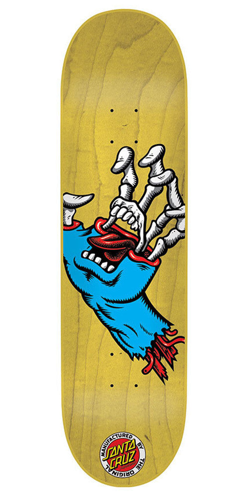 Santa Cruz Hybrid Hand Mini Skateboard Deck 7.4 x 27.6 - Natural/Blue
