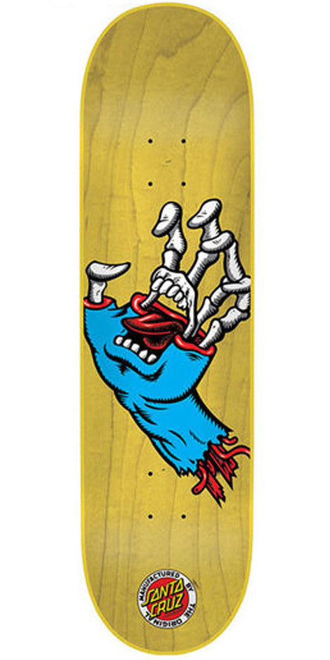 Santa Cruz Hybrid Hand Micro Skateboard Deck - Yellow - 28.5in x 6.75in