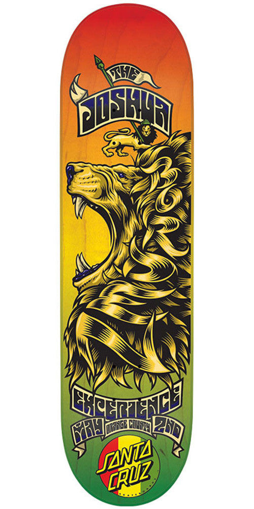 Santa Cruz Borden Concert Eight Six Skateboard Deck - Rasta - 32.5in x 8.6in