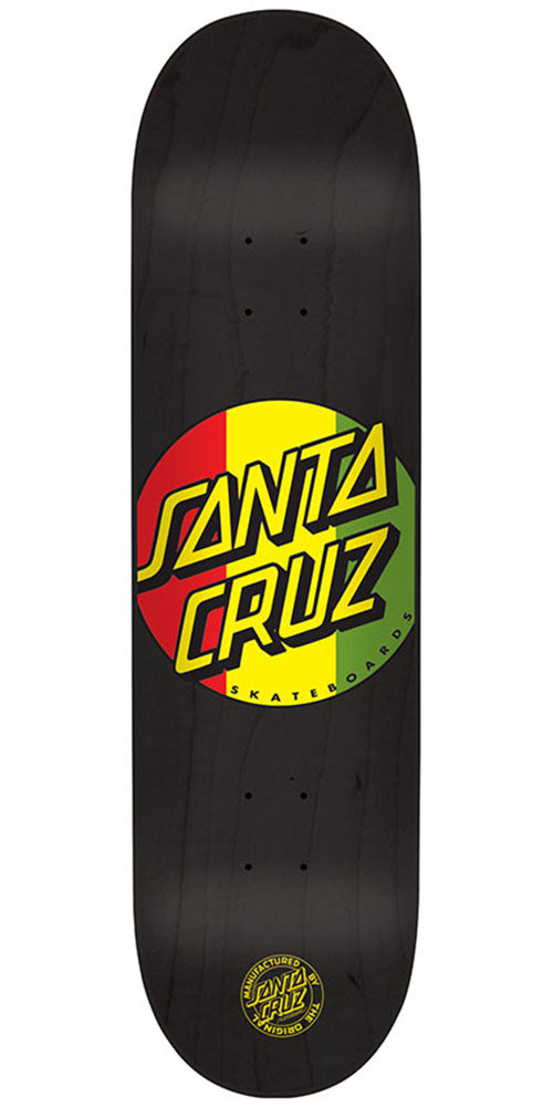 Santa Cruz Rasta Dot Team Skateboard Deck - Black - 32.0in x 8.375in