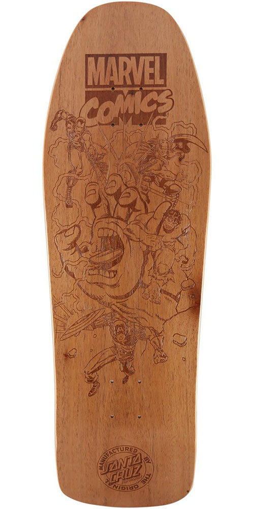 Santa Cruz Marvel Battle Engraved Collectable Skateboard Deck - Natural - 10.0in x 31.3in