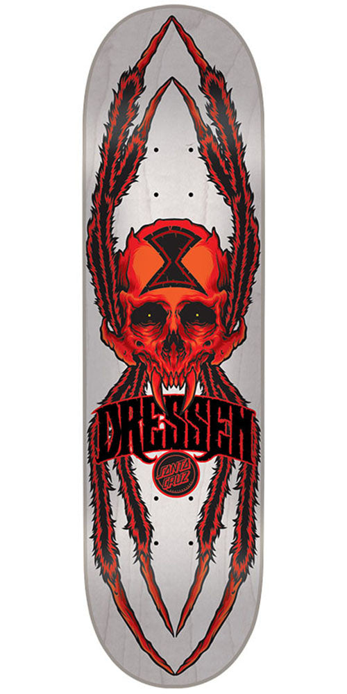 Santa Cruz Dressen Widow Skull Pro Skateboard Deck - Off White - 8.6in x 32.3in