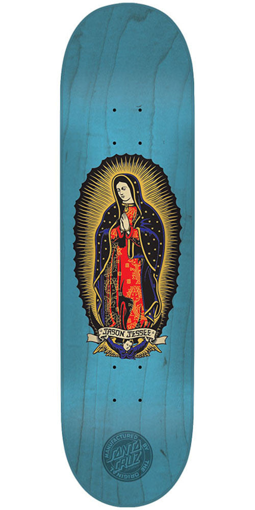 Santa Cruz Jessee Guadalupe Blue n Gold Pro Skateboard Deck - Blue - 7.7in x 31.4in