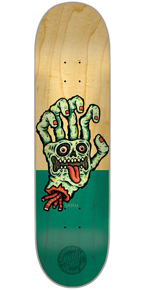 Santa Cruz Sieben Hand Team Skateboard Deck - Natural/Green - 8.2in x 31.9in