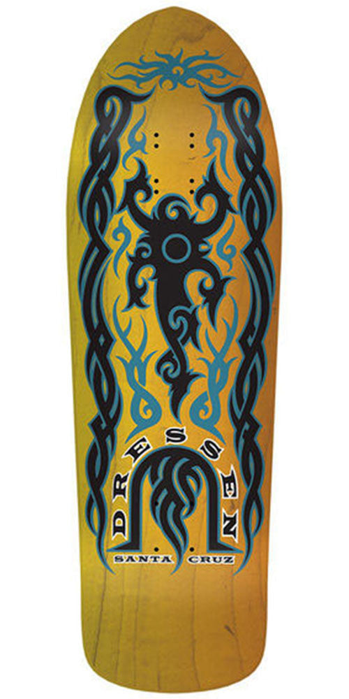 Santa Cruz Dressen Tribal Reissue Skateboard Deck - Yellow - 9.9in x 31.4in