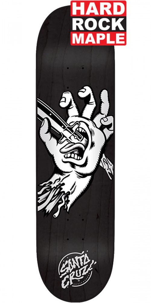 Blemished - Santa Cruz Stabbed Hand Hard Rock Maple Skateboard Deck - Black - 8.25in x 31.8in