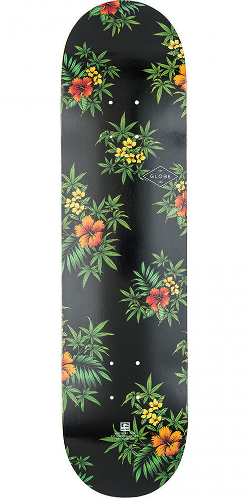 Globe Full On Skateboard Deck - Black/Hibiscus - 8.0