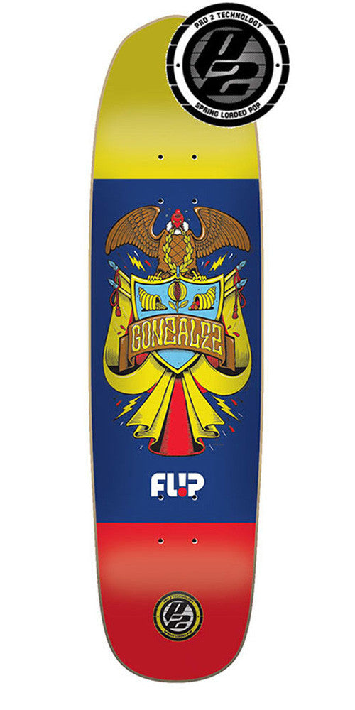 Flip Gonzalez Flag Series P2 Skateboard Deck - Yellow/Blue/Red - 8.25in x 31.75in