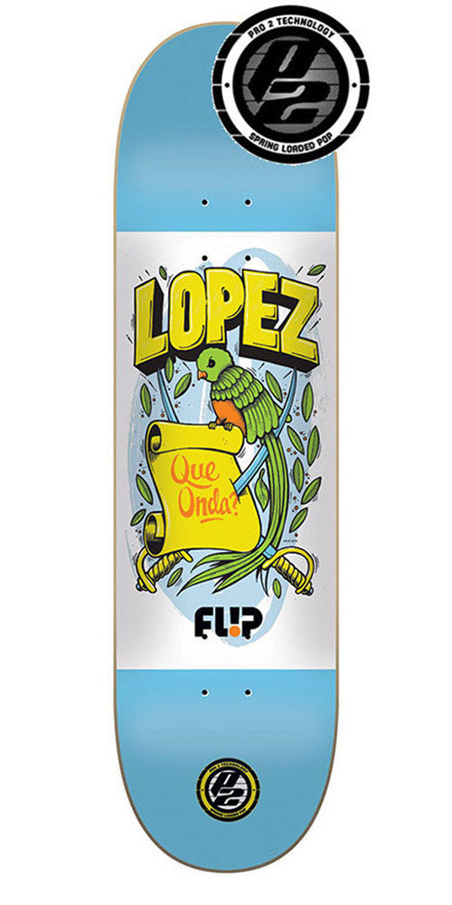 Flip Lopez Flag Series P2 Skateboard Deck - Blue/White - 8.0in x 31.5in
