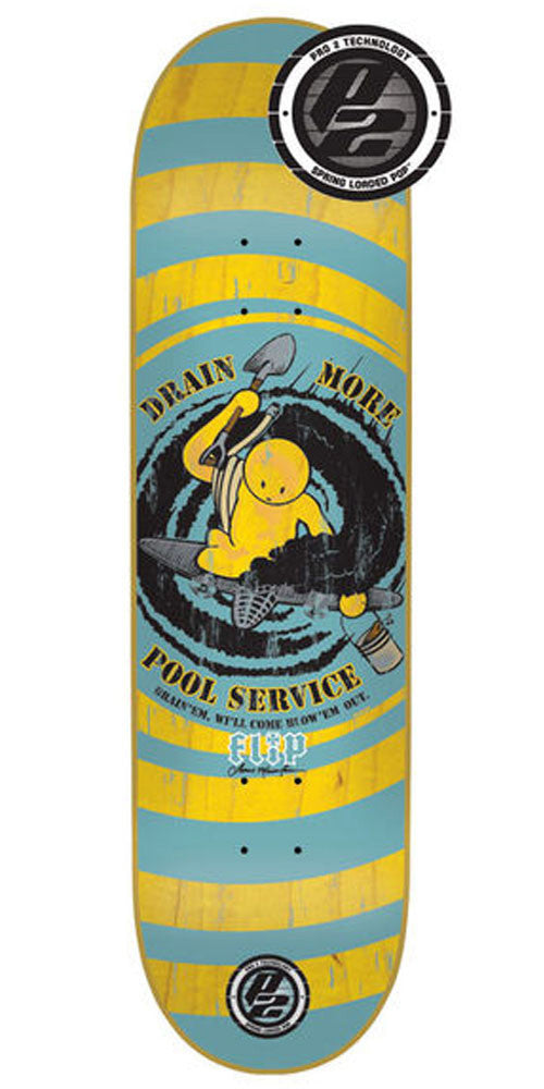 Flip Mountain Drain More Pools Skateboard Deck - Aqua/Yellow - 32.31in x 8.25in