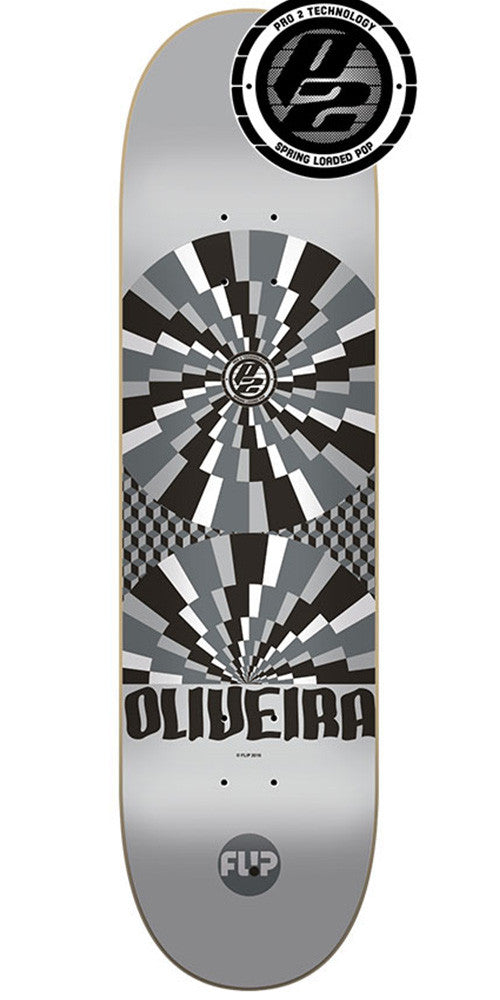 Flip Oliveira Optical Pro P2 Skateboard Deck - Silver - 32.0in x 8.13in