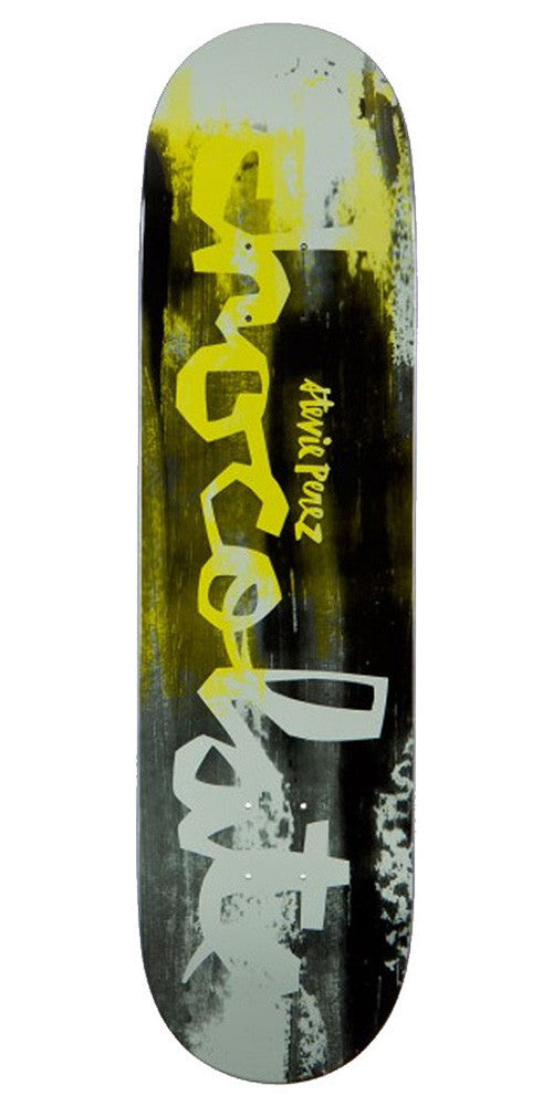 Chocolate Perez Hype Paint Skateboard Deck - Black/Yellow/White - 8.25in