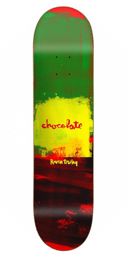Chocolate Tershy Subtle Square Skateboard Deck - Green/Yellow/Red - 8.375in x 31.75in