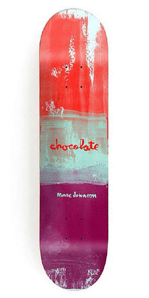 Chocolate Johnson Subtle Square Skateboard Deck - Red/White/Purple - 8.125in x 31.3in