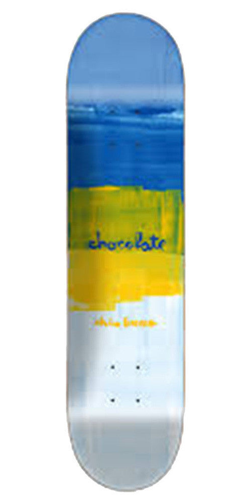 Chocolate Brenes Subtle Square Skateboard Deck - Blue/Yellow/White - 8.0in x 31.63in