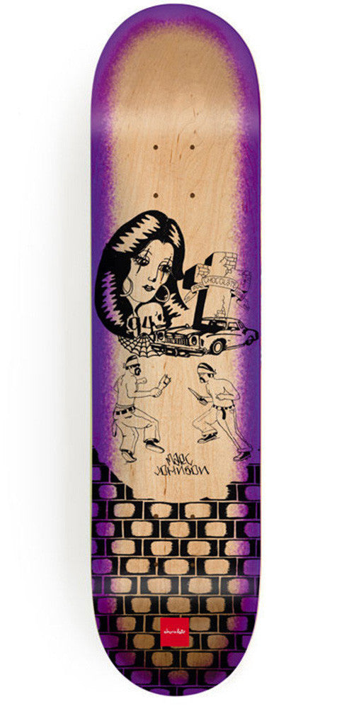 Chocolate Johnson Lupitas Skateboard Deck - Natural/Purple - 8.125in x 31.3in