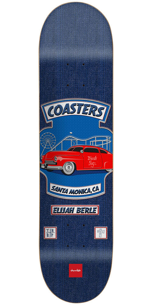 Chocolate Berle Rider Patch Skateboard Deck - Blue - 8.5in x 32.25in