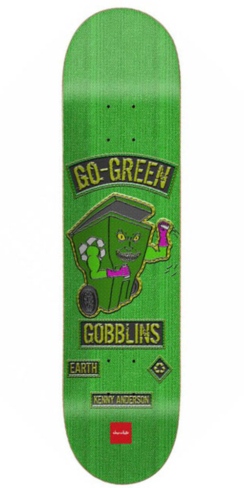Chocolate Anderson Rider Patch Skateboard Deck - Green - 8.125in x 31.625in