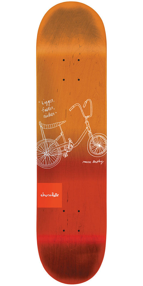 Chocolate Tershy Sketch Fade Skateboard Deck - Orange/Red - 8.375in x 31.75in