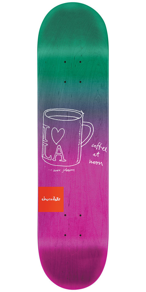 Chocolate Johnson Sketch Fade Skateboard Deck - Green/Pink - 8.125in x 31.3in