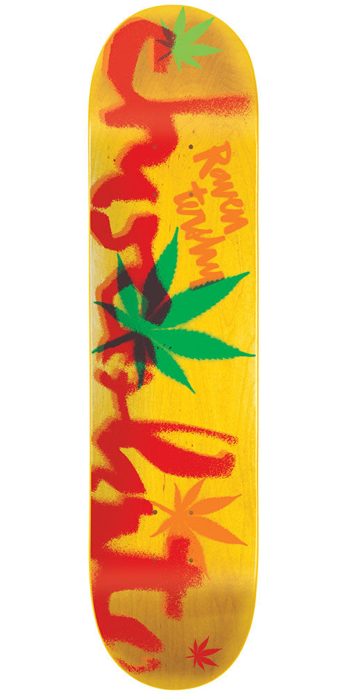 Chocolate Tershy Icon Stencil Skateboard Deck - Yellow - 8.5in x 32.25in
