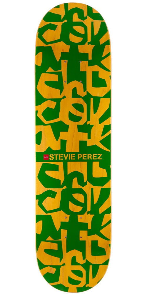 Chocolate Perez Deconstruct Skateboard Deck - Green/Yellow - 8.25in x 32.0in
