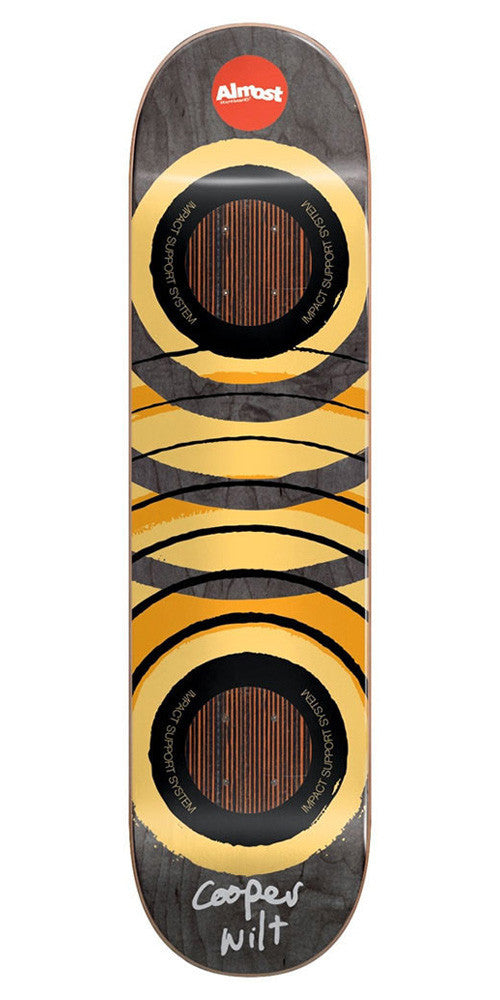 Almost Cooper Wilt Royal Rings Impact Skateboard Deck - Black/Yellow - 8.25in