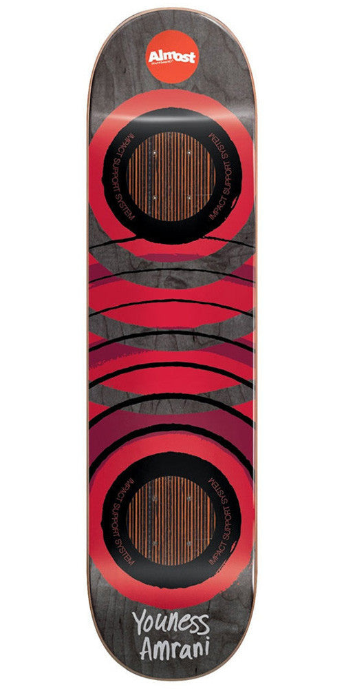 Almost Youness Amrani Royal Rings Impact Skateboard Deck - Black/Red - 8.0in