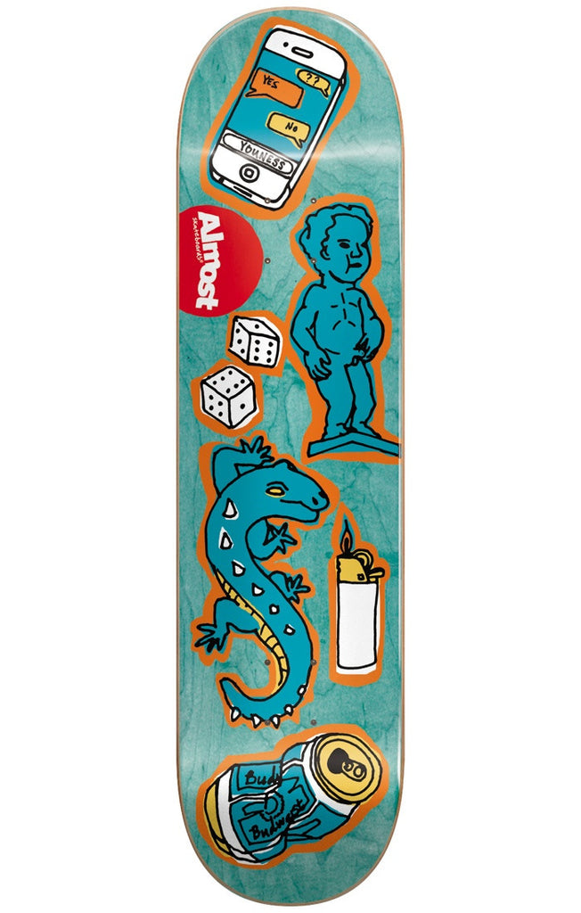 Almost Youness Amrani Dumb Doodle R7 Skateboard Deck - Aqua - 7.75in
