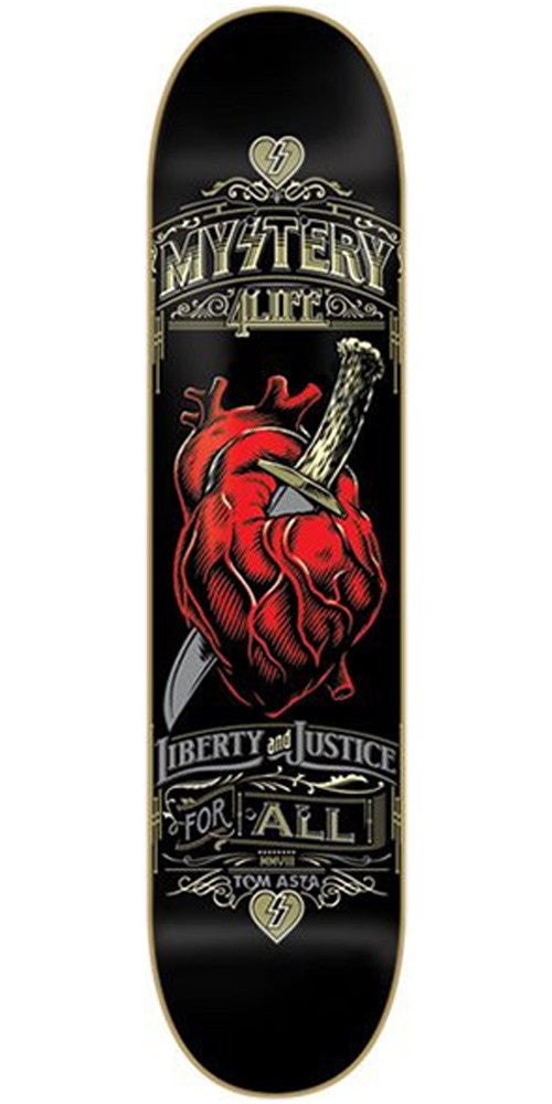 Mystery Asta Liberty And Justice Skateboard Deck 8.25 - Black