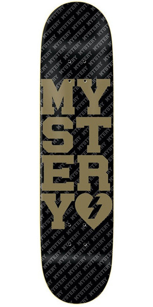 Mystery Varsity Skateboard Deck - Black/Gold - 8.5in