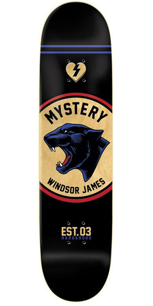 Mystery James Hardgood Badge Skateboard Deck - Black - 8.0in