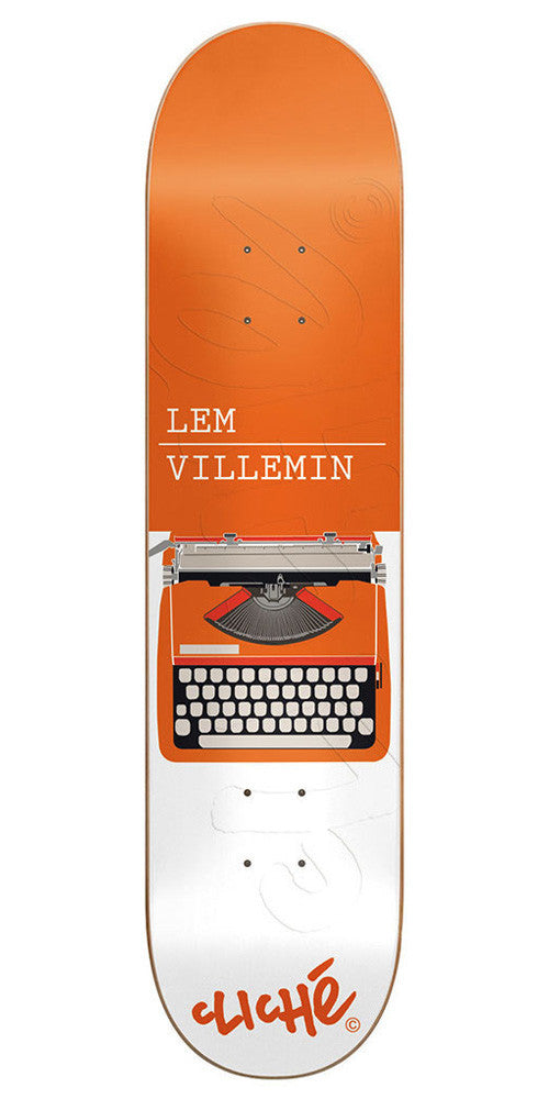 Cliche Lem Villemin Typewriter Series R7 Skateboard Deck - Orange/White - 8.0
