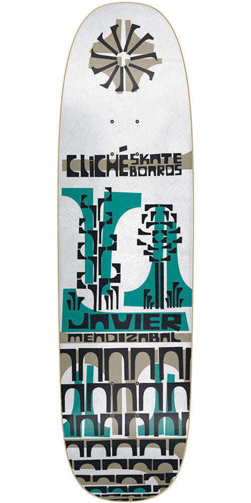 Cliche Javier Mendizabal Grip Art Series R7 Skateboard Deck - White - 8.5