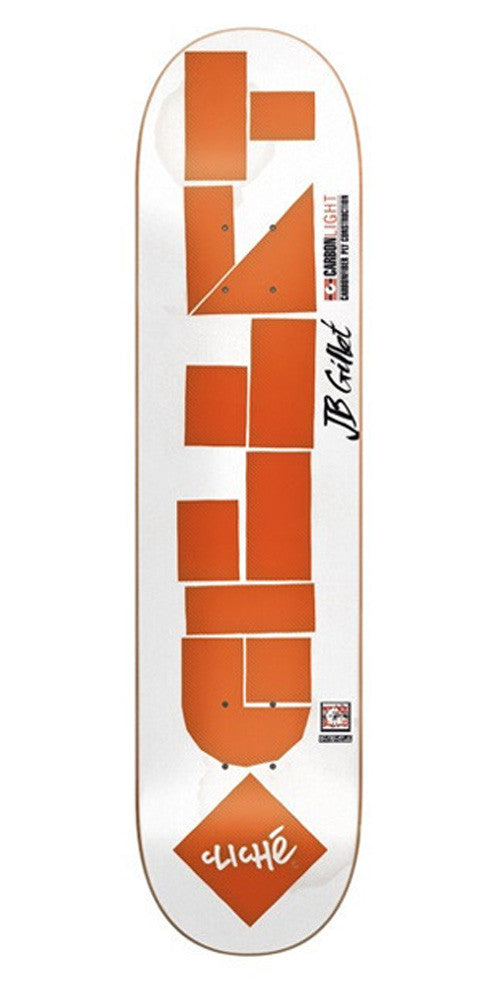 Cliche Laser Cut Gillet Skateboard Deck - White/Orange - 7.8in