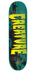 Creature Stained XS Skateboard Deck 7.4 x 27.6 - Green/Black