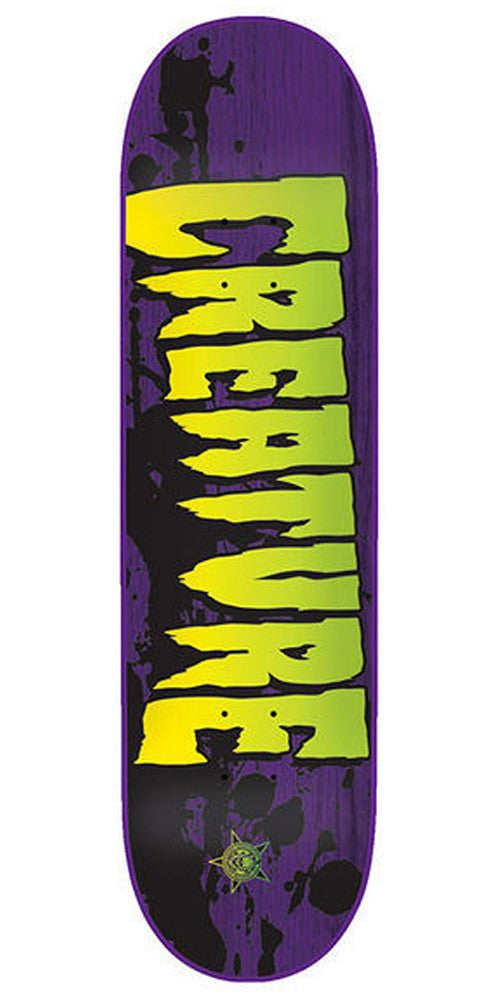 Creature Stained Sm Skateboard Deck 8.0 x 31.6 - Purple/Green