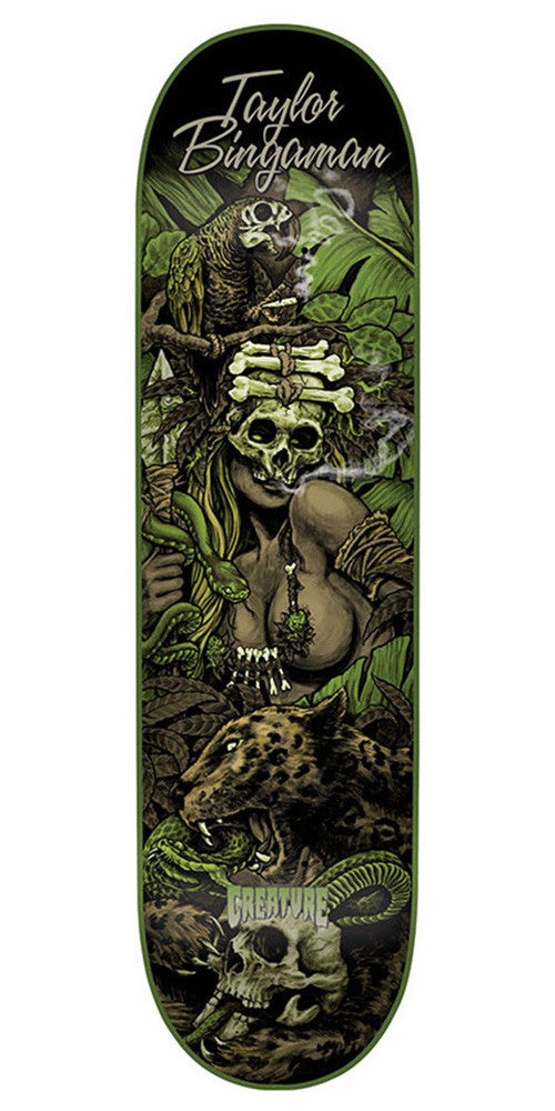 Creature Bingaman Predator Skateboard Deck - Black/Green- 8.2in x 31.9in