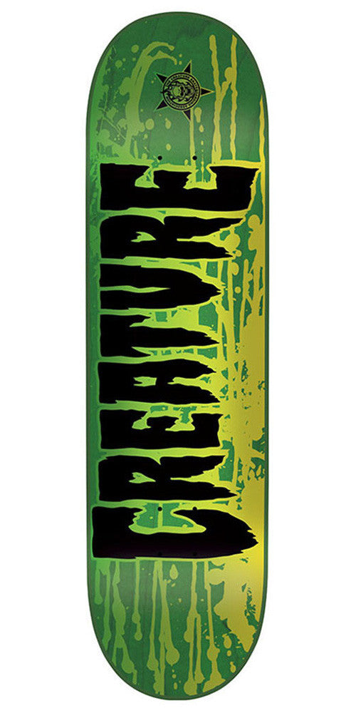 Creature Reverse Stain SM Skateboard Deck - Green - 31.6in x 8.0in