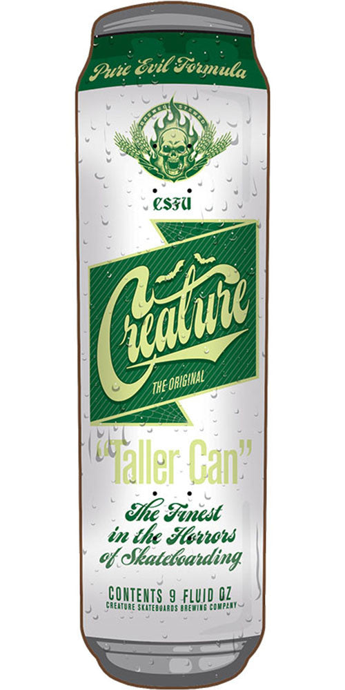Creature Taller Can Skateboard Deck - White/Green - 32.51in x 9.0in