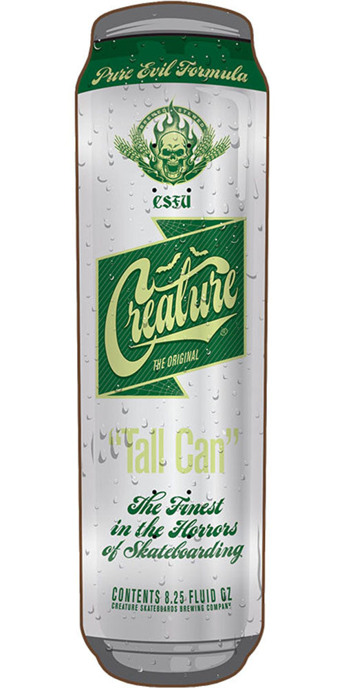 Creature Tall Can Skateboard Deck - White/Green - 31.77in x 8.25in