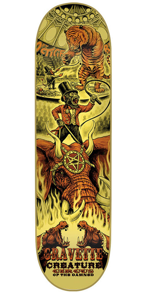 Creature Gravette Circus Of The Damned Pro Skateboard Deck - Yellow - 31.7in x 8.26in