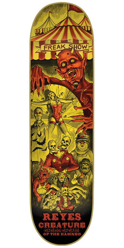 Creature Reyes Circus Of The Damned Pro Skateboard Deck - Yellow - 31.6in x 8.0in
