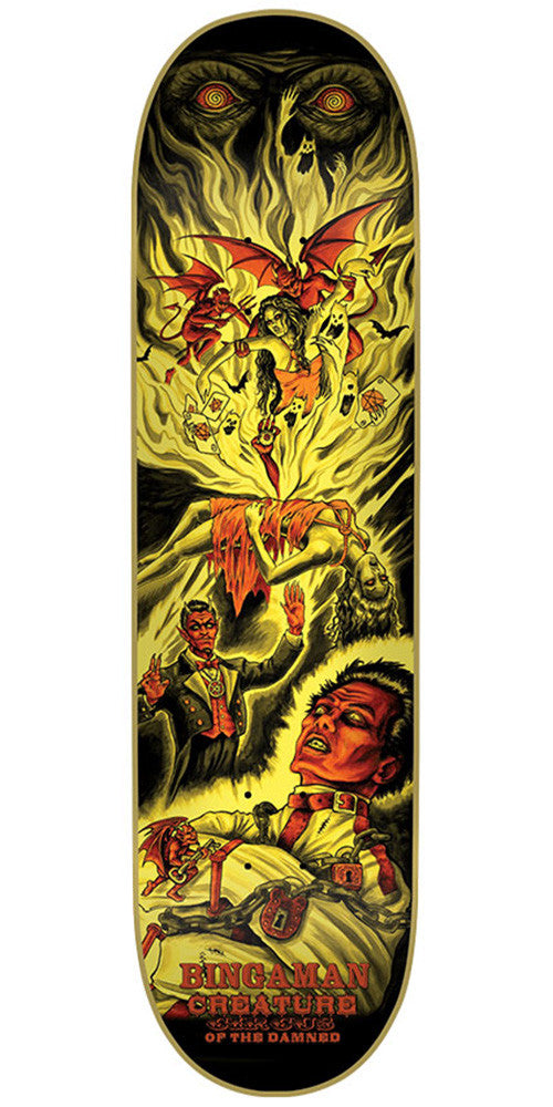 Creature Bingaman Circus Of The Damned Pro Skateboard Deck - Yellow - 32.0in x 8.375in