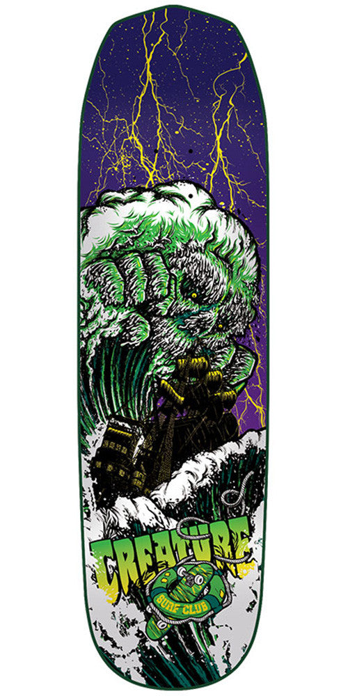 Creature Surf Club Team Small Skateboard Deck - Purple/Green - 31.925in x 8.2in