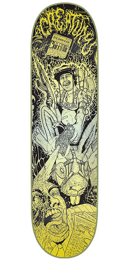 Creature Gravette Rumble Series Pro Skateboard Deck - Black/Yellow - 32.04in x 8.25in