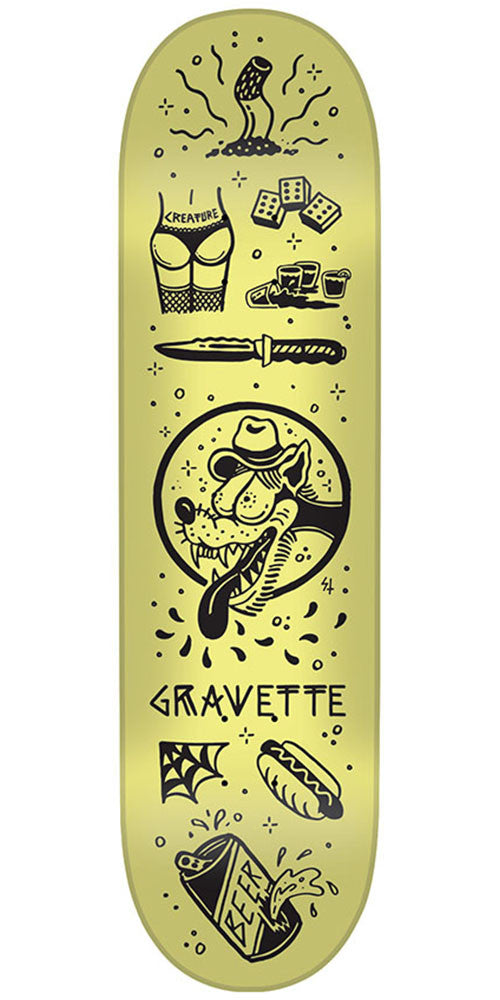 Creature Gravette Tanked Pro Skateboard Deck - Yellow - 8.2in x 31.9in