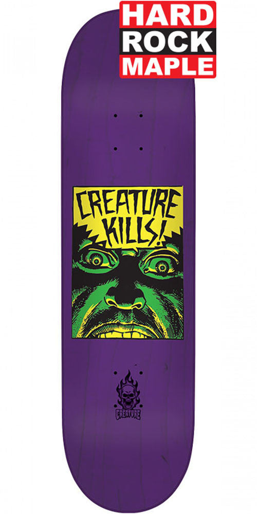 Creature Ambush Hard Rock Maple Skateboard Deck - Purple - 8.25in x 32.04in