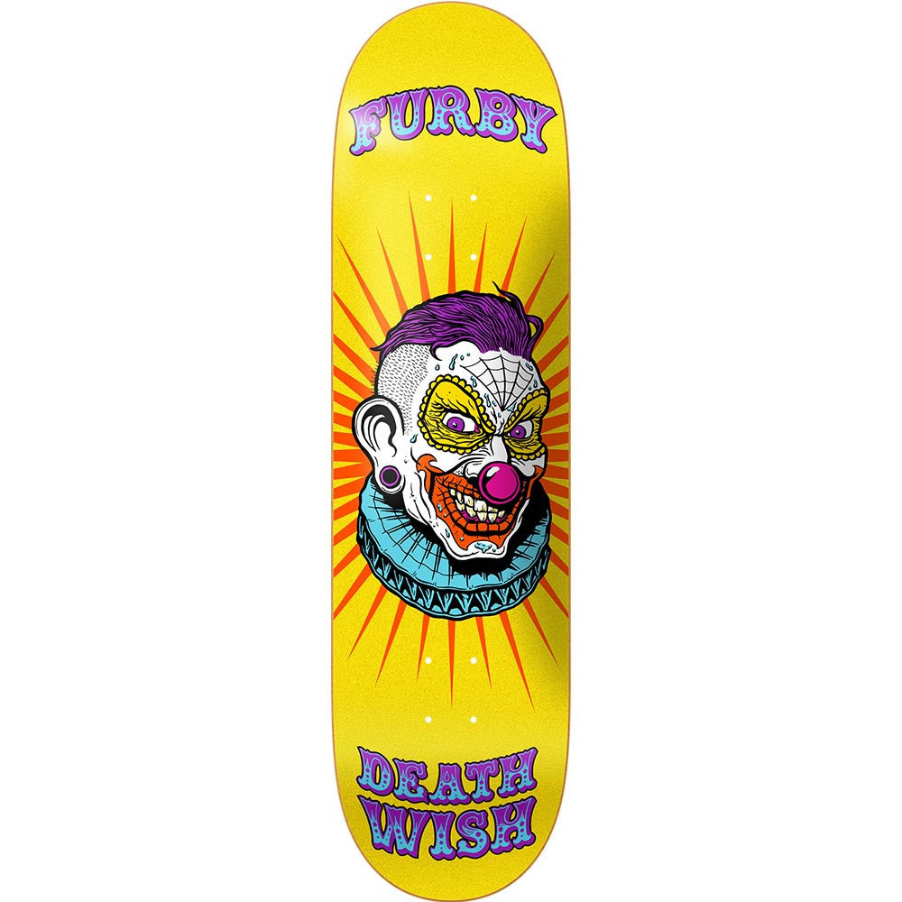 Deathwish Furby Clowns Skateboard Deck - 8.38in x 31.75in - Yellow